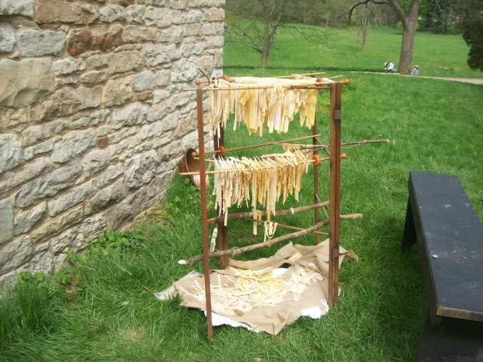 Noodles drying next to the dairy.